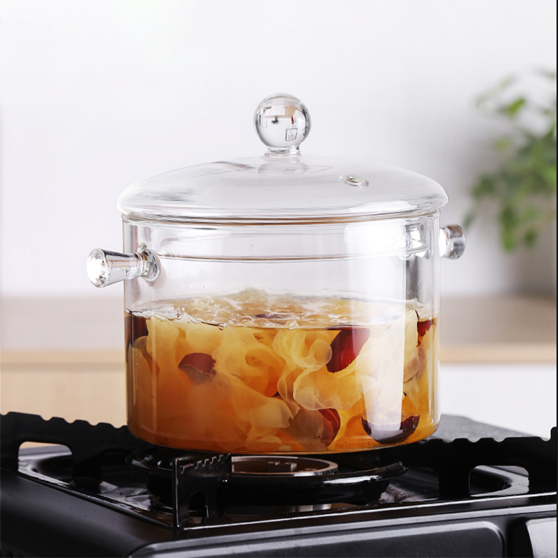 big size transparent clear double-ear cooking pot borosilicate pyrex glass cooking pot