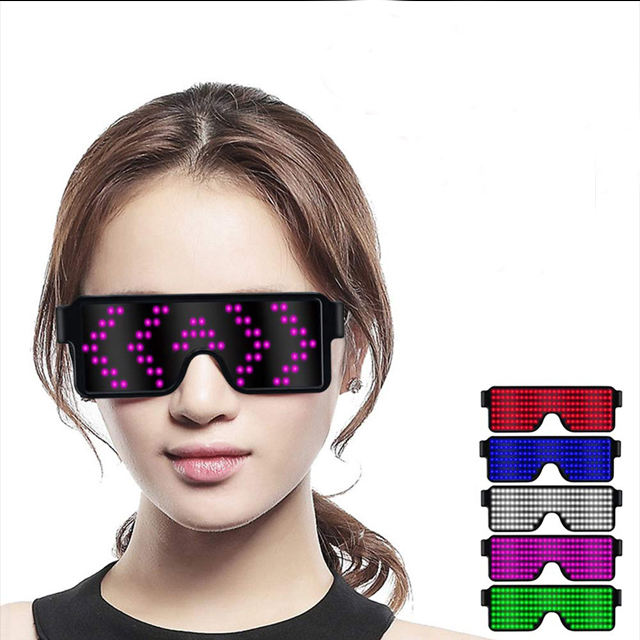 Magic Button Led Party Glasses Luminous Glasses Fancy LED Light up Glasses USB Rechargeable&Wireless with Flashing LED Display