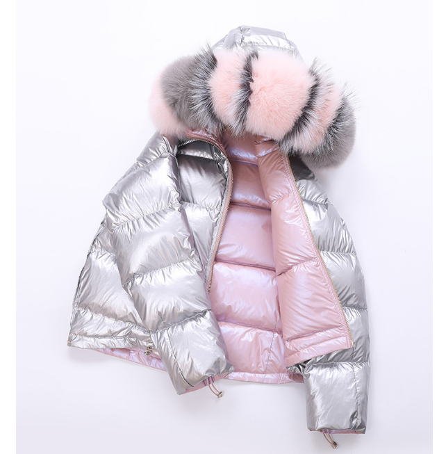 Winter new Korean fashion tide two sides wearing glossy super fox fur down jacket female short coat