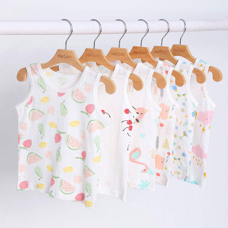 Baby vest one piece summer thin section 100% cotton children's pajamas children's clothing baby jacket children's clothing