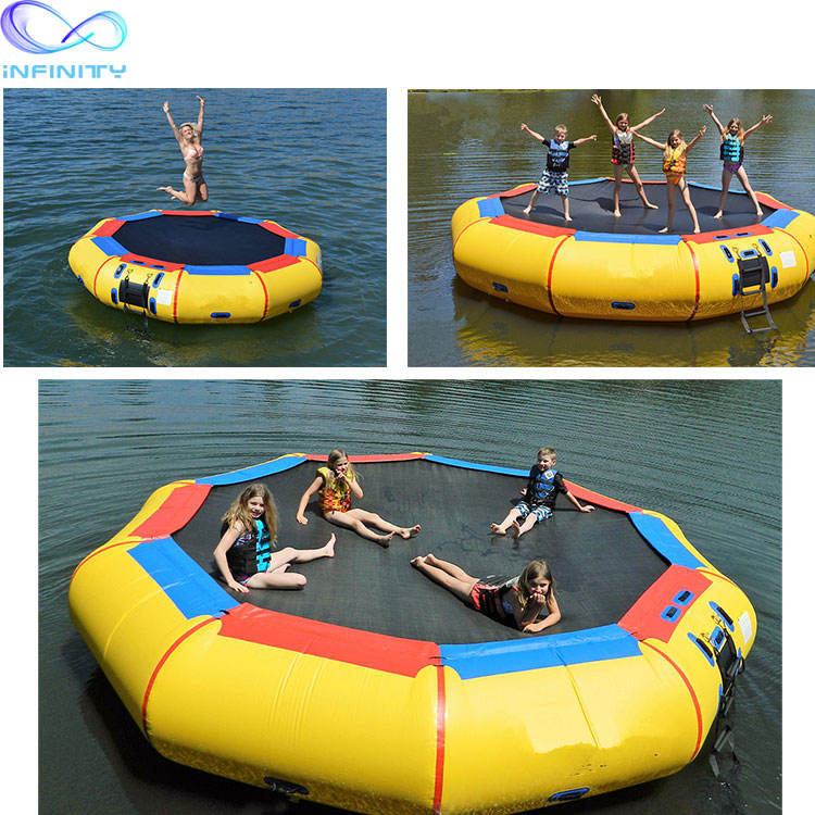 Good quality inflatable sungear water trampoline Inflatable Bounce Platform Jump Floated Water Trampoline Water Sport
