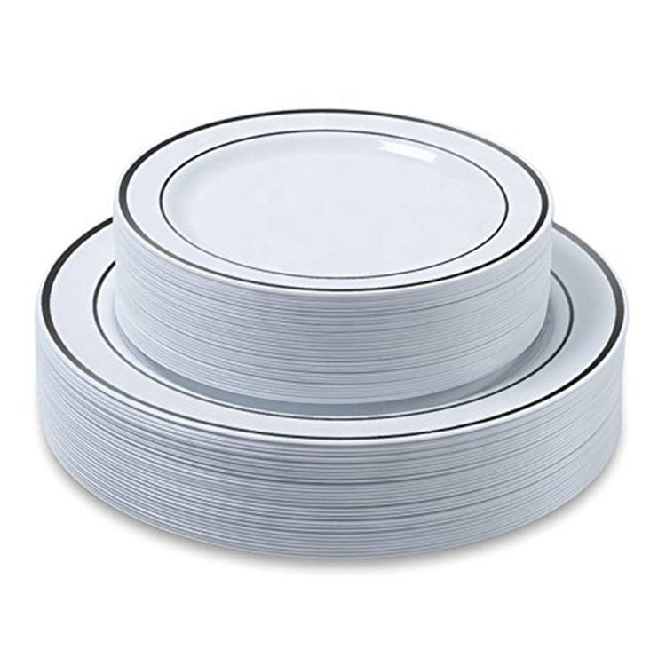 Factory direct plastic silver tableware disposable plates 7.5 inch 10.25 inch western silver plate wholesale tableware supplies