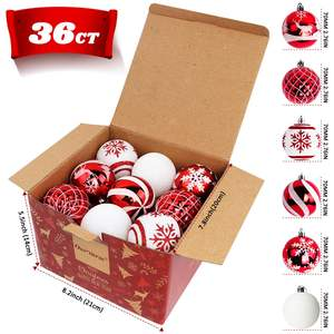 Ourwarm Christmas Decoration Supplies 36pcs 70mm Christmas Tree Ornaments Ball Decoration