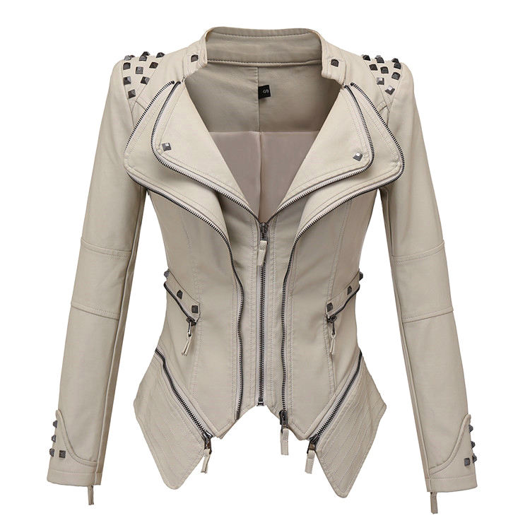 Fashion Lady Washed Faux Jacket Rivet Short Double Zipper Motorcycle Women PU Leather Jacket