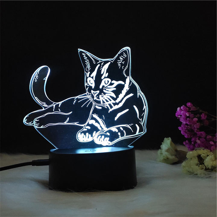 Adorable cat 3d optical illusion kitty led night light for children gadget