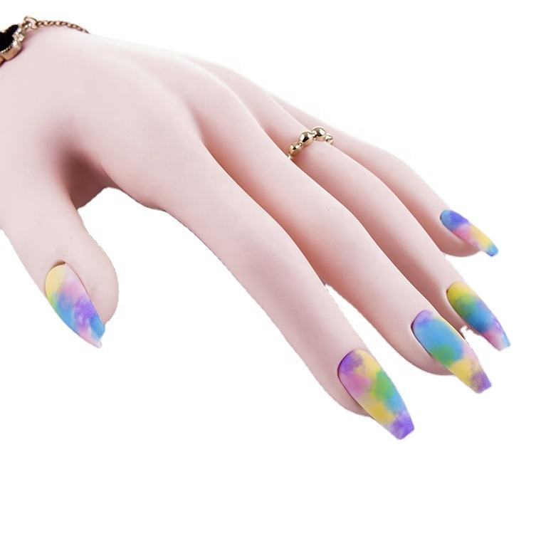 Rainbow colors matte coffin nail Full Cover Designed press on acrylic nails