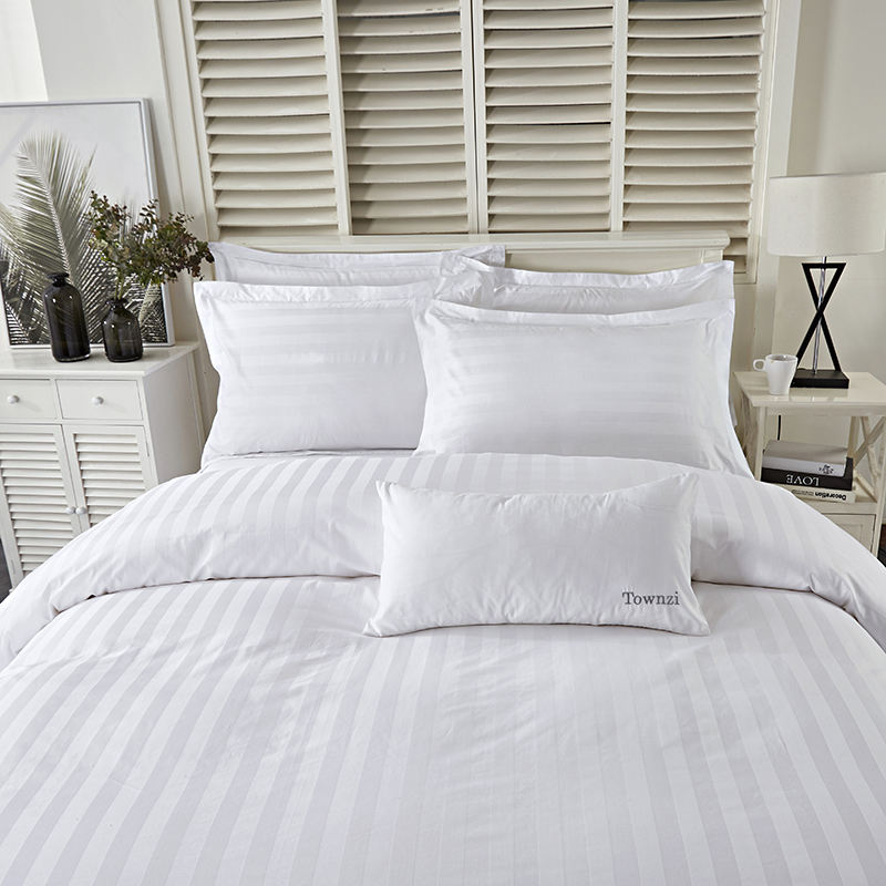 New hot luxury 100 % cotton comfortable white stripe bed sheet 4pc star hotel bedding set