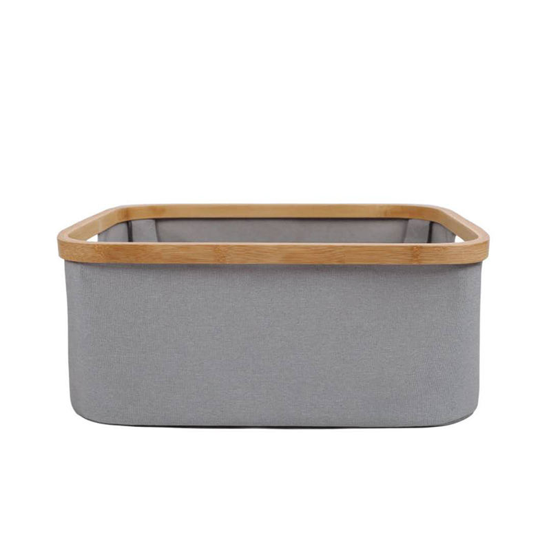 Hot sale collapsible folding clothing laundry hampers bamboo frame canvas oxford cloth storage basket for toys books