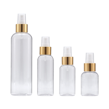 Hot Sale 50ml 75ml 100ml 250ml Plastic Cosmetic Packaging Gold Top Spray Bottle