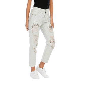 RCCIENTLE Women's sequin jeans Best sale fashion white bleach denim high waisted loose silver for next spring and summer