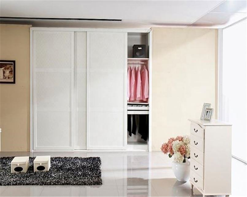 White Stylish Modern Hotel Bedroom Designs Laminated Bullnose Clothes Wardrobe Clip Furniture