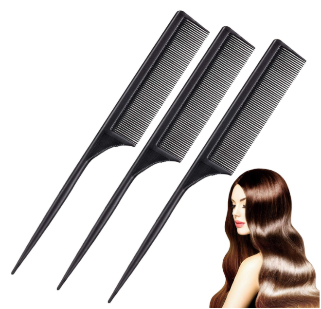 Styling Comb Black Carbon Fiber Anti Static and Heat Resistant Tail Comb
