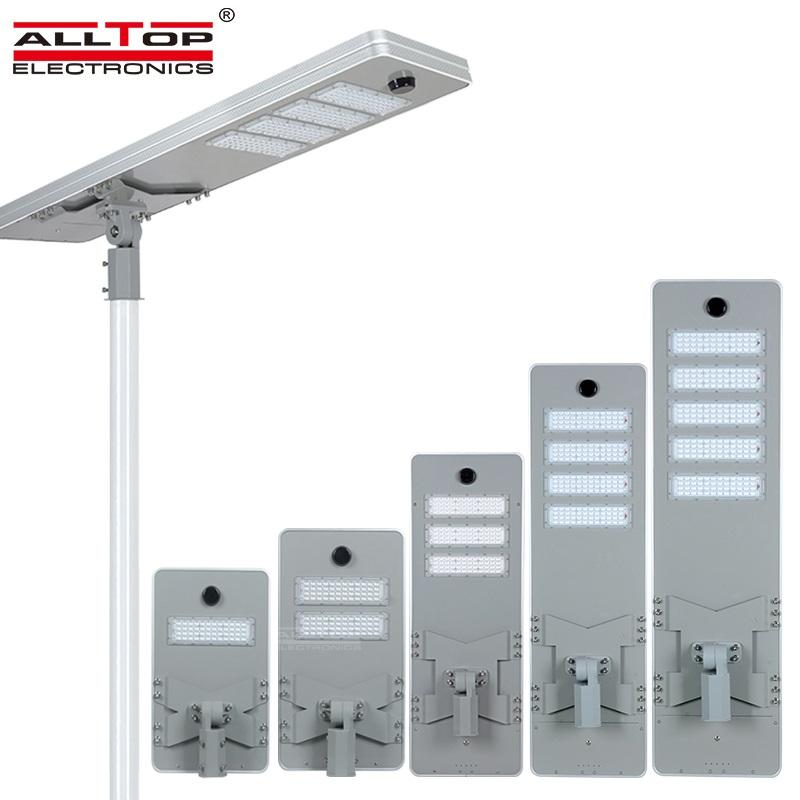 ALLTOP Outdoor Waterproof Road Streetlight Ip65 Smd 50w 100w 150w 200w 250w Integrated All in One Led Solar Street Light