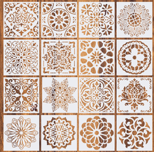 16 pcs Reusable Mandala Stencils (6x6 inch) for DIY Painting on Wall Floor Tile Wood Furniture Fabric