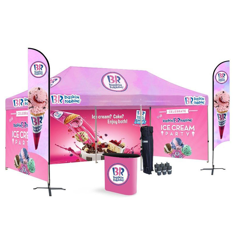 Dye sublimation personalizado trade show 10x20 de aço ao ar livre pop up canopy barraca do partido