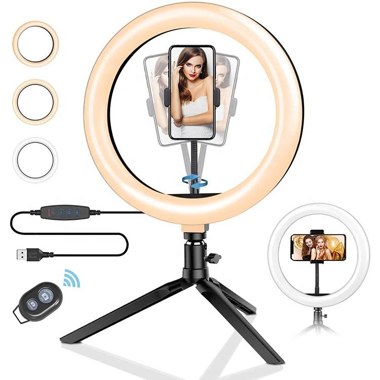 Dimmable LED Desktop Live Broadcast Support Ring Light With Tripod Stand Cell Phone Holder