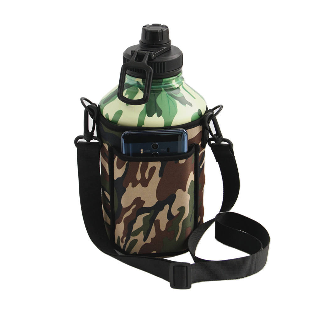Drinkware custom printed 1.3l/2.2l camouflage stainless steel water bottle with Cup set