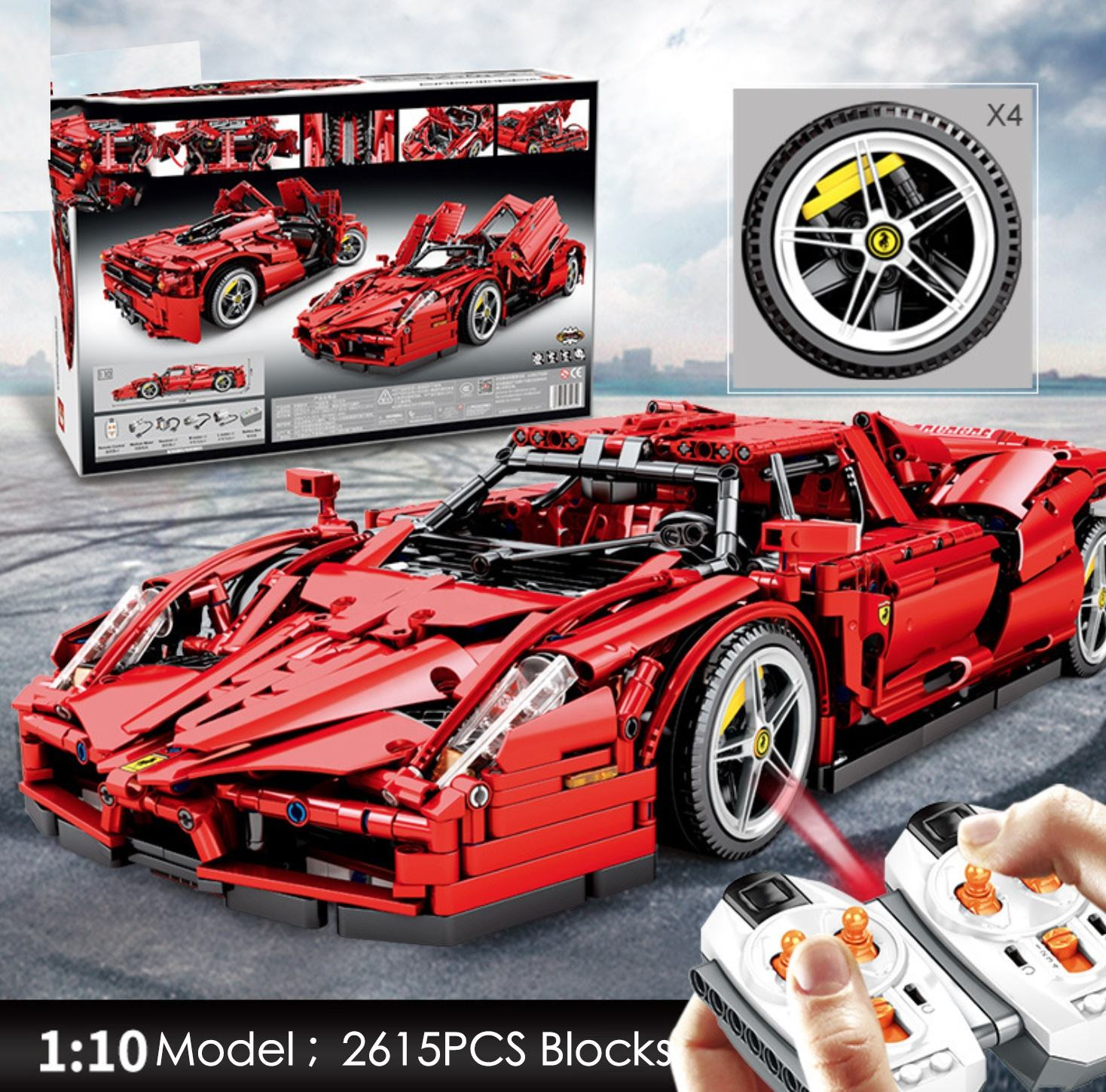 Fe rrari Enzo Model block 1:10 Compatible with Technic Legoing RC Super Racing Car Building Blocks toys for children
