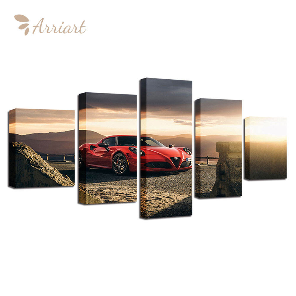 Latest Modern Art Prints Giclee 5 Piece Canvas Art Wall Painting Printings Cars Photo