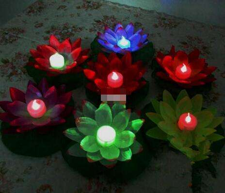 New Arrive Diameter 19 cm LED Lotus Lamp in Colorful Changed Floating Water Pool Wishing Light Lamps Lanterns for Party