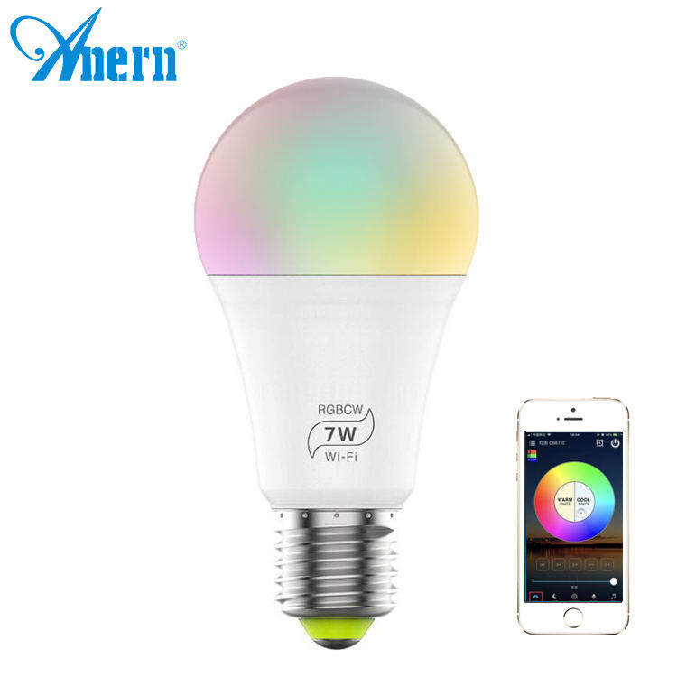 Led Bulb Led Lights ANERN 2 Years Warranty WIFI Smart Led Bulb Multicolor 7W Night Lights