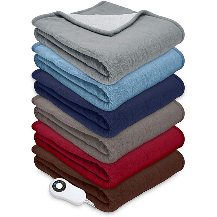 "Reversible Sherpa/Fleece Heated Electric Throw Blanket, 50""x60"" With 5 Setting Controller"