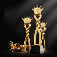 New Fashion Engraving Logo Crystal Trophy  Crown Crystal Metal Award Trophy With Black Base