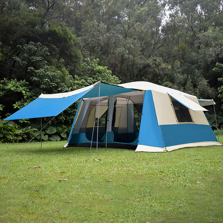 Double Layer Folding Glamping Tents 5-8 Persons Outdoor Tent Camping Waterproof