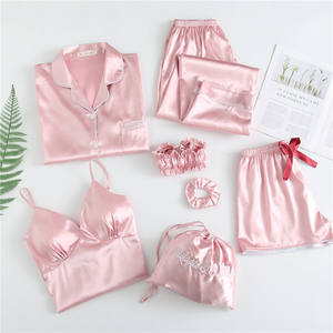 Women Silk Satin embroider Pajamas 7pcs Long Sleeve Loungewear Pajamas Women Sleepwear PJ Sets