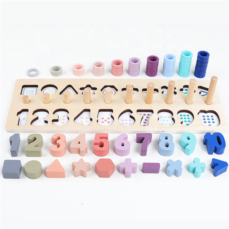Montessori Wooden Number Counting Shape Puzzle Stacking Tower Preschool Educational Wooden Blocks Toys
