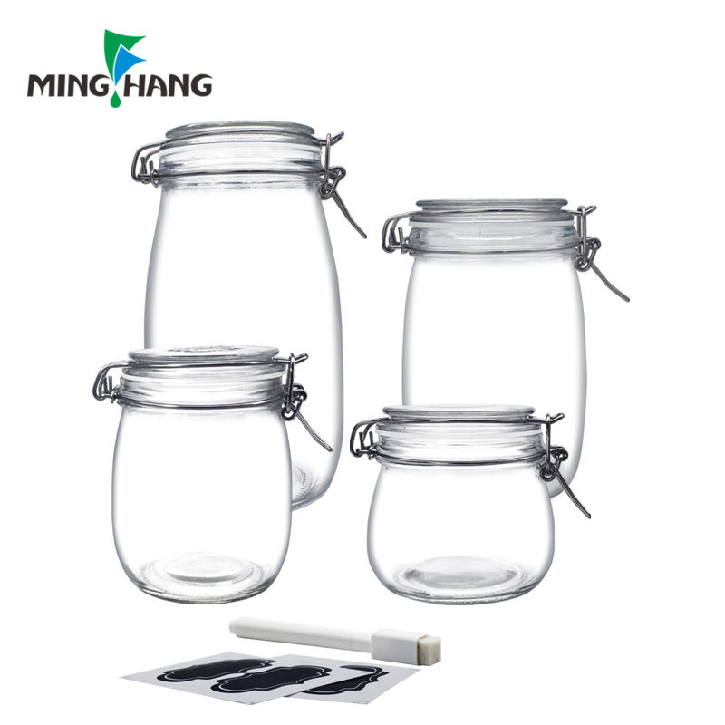 24oz Food Storage Canister Glass Jars with Clamp Airtight Lids jar for Multi-Purpose Kitchen Containers clear round