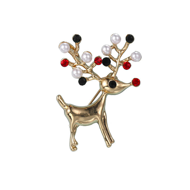 Christmas jewelry pearl deer brooch vintage alloy clothing shoes and hats accessories brooch for Christmas gifts