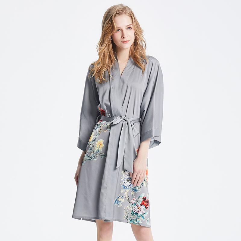 Patrón personalizado cintura alta ropa de dormir mujer personalizado <span class=keywords><strong>casa</strong></span> ropa de seda Kimono de novia de alta final trajes