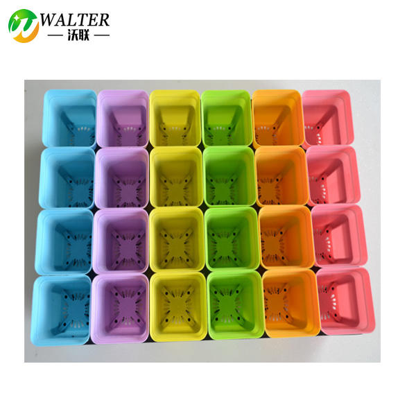 Colorful Square Plastic Plant Pot, Planter, Flower Pot with Pallet Tray Saucer for Decoration of Home Office Desk Garden Flower