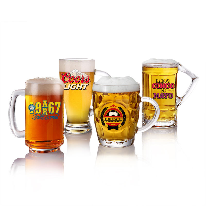 Beer glass mug with handle, beer drinking glass/cup glass travel mugs/glass beer mugs