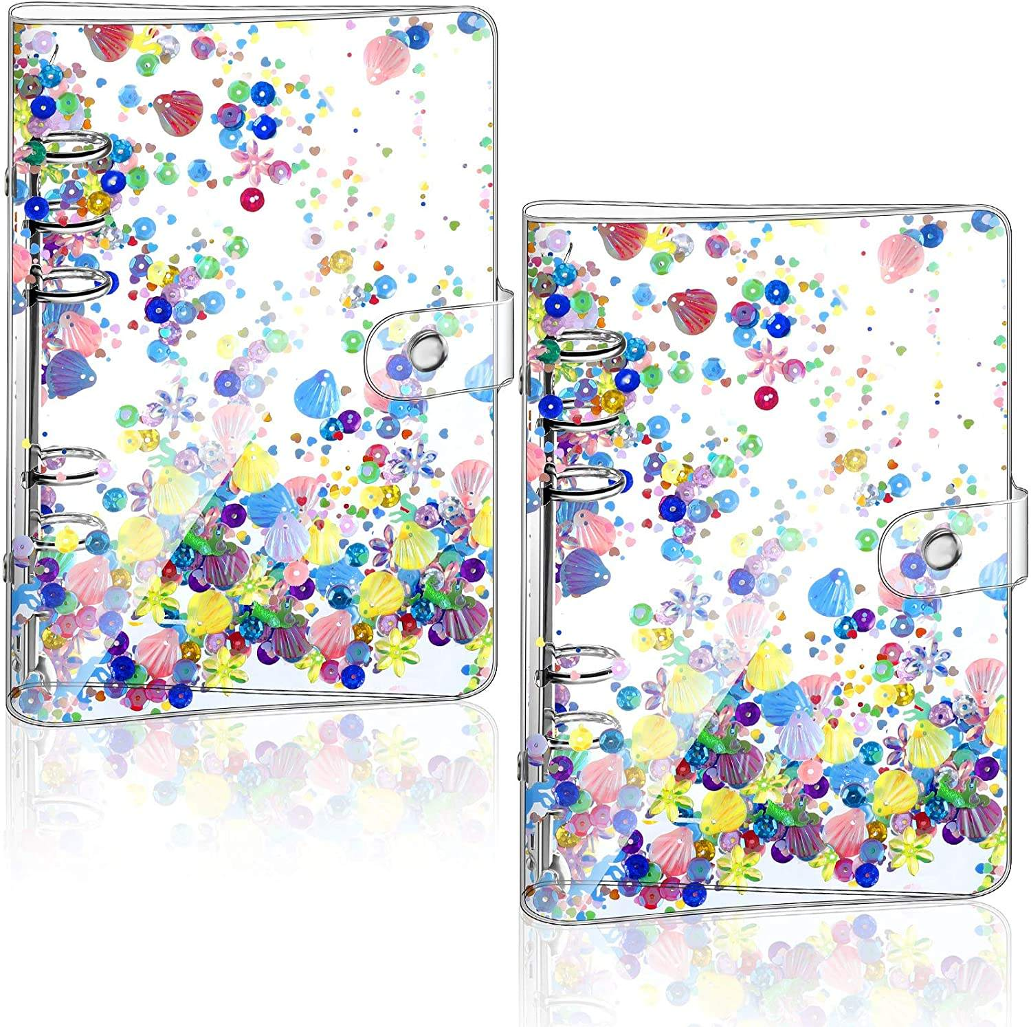 Binder Cover Transparent PVC Fill Notebook Cover with Flash Sequins and Button Seals Suitable for A6 Fill Paper Loose Notepad