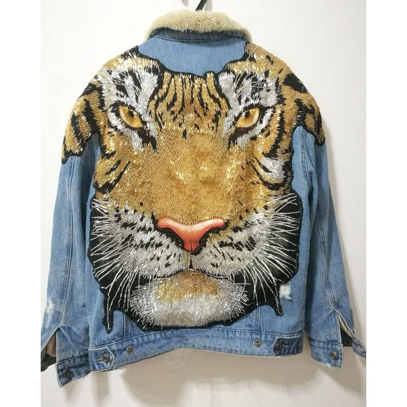 Printed Tiger Faux Rabbit Fur Denim Jacket