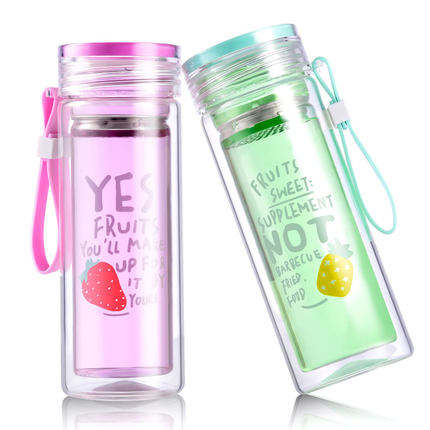 Seaygift custom high quality portable double wall borosilicate glass fruit infuser sports drinking water bottle