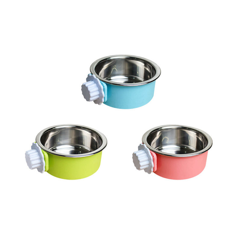 Wholesale Super Quality Detachable Stainless Steel Dog Food Bowl Cage Hanging Pet Feeding Bowl