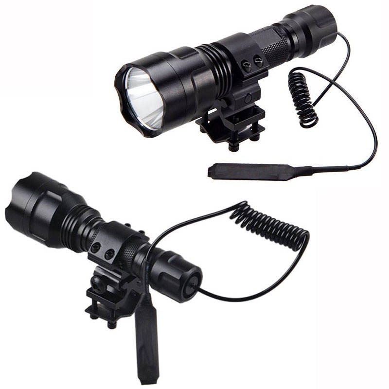 C8 Red Green White Rechargeable XML-T6 LED Flashlight For Rifle Hunting
