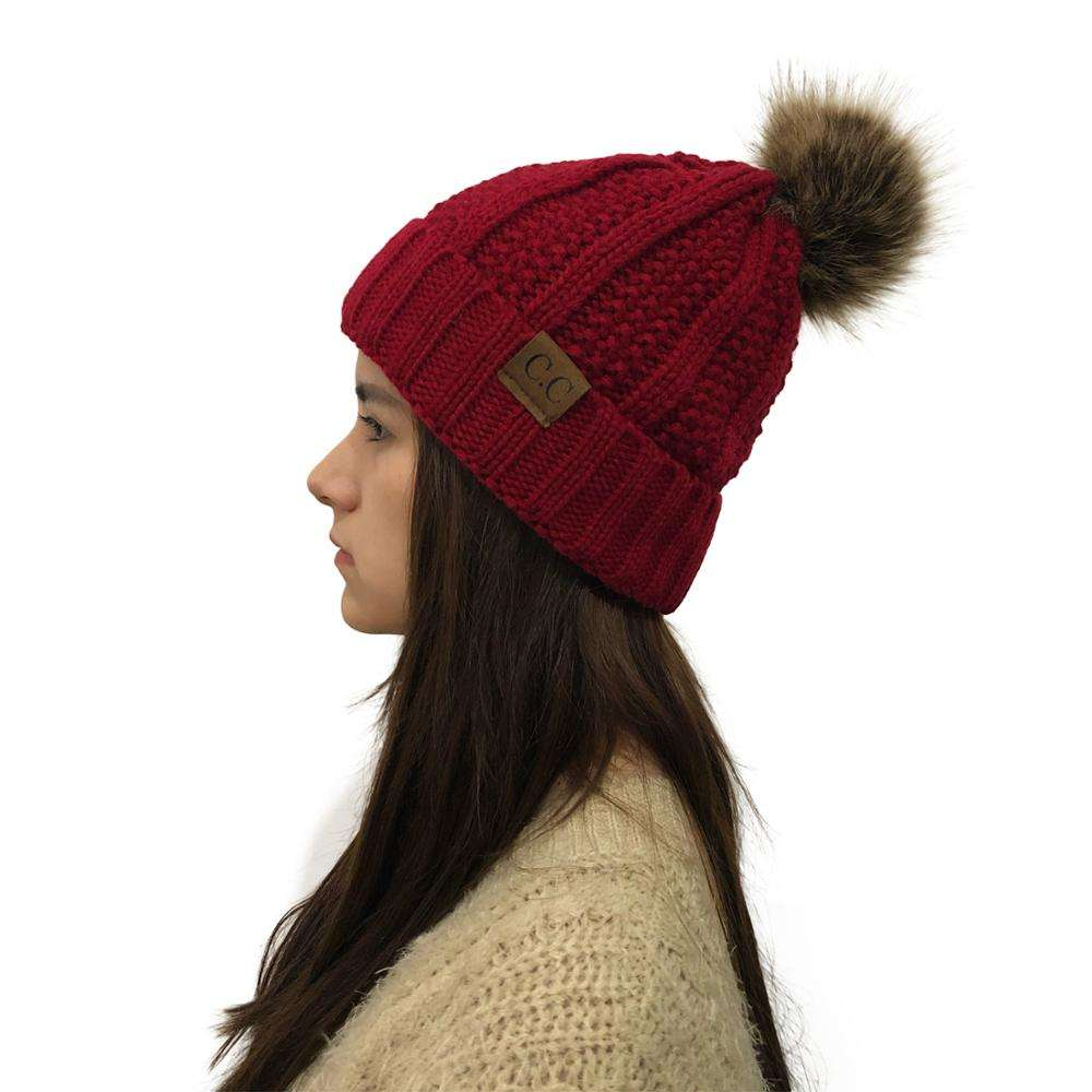 Wholesale Akrilik Campuran Jorok Manset Wanita Puff Sleeve Winter Knit Beanie Topi