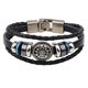 Alloy Wheel Charm Rope Braid Multilayer Wrap Beaded Men Braided Bracelets Cuff Womens Bangles Bracelet Leather For Women