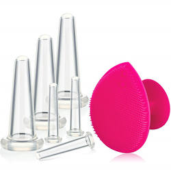 Face and Eye 6 Pieces Facial Massage Cupping  Therapy Set with Exfoliating Brush for Neck Skin Anti-Wrinkle Effect