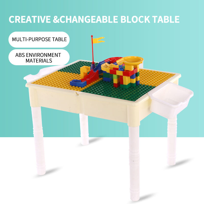 Plastic DIY lego table for kids multi-functional kids lego table can be learning and funny