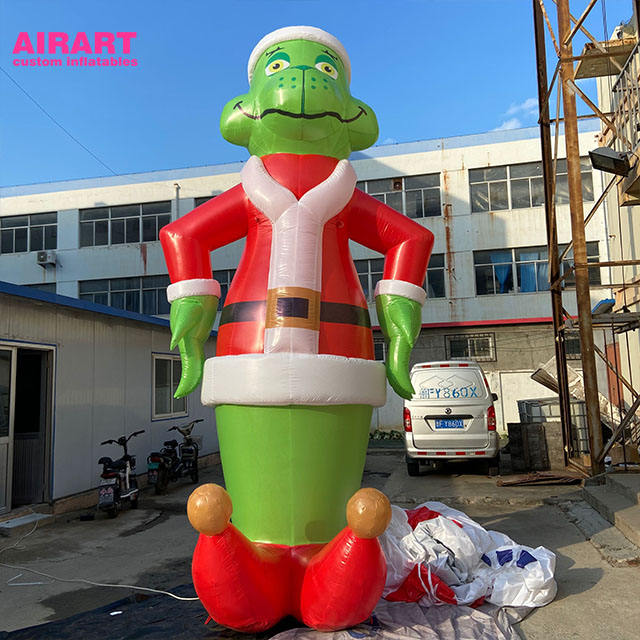 4m high hot sale giant inflatable blow up green cartoon in a Santa hat for Christmas holiday decoration