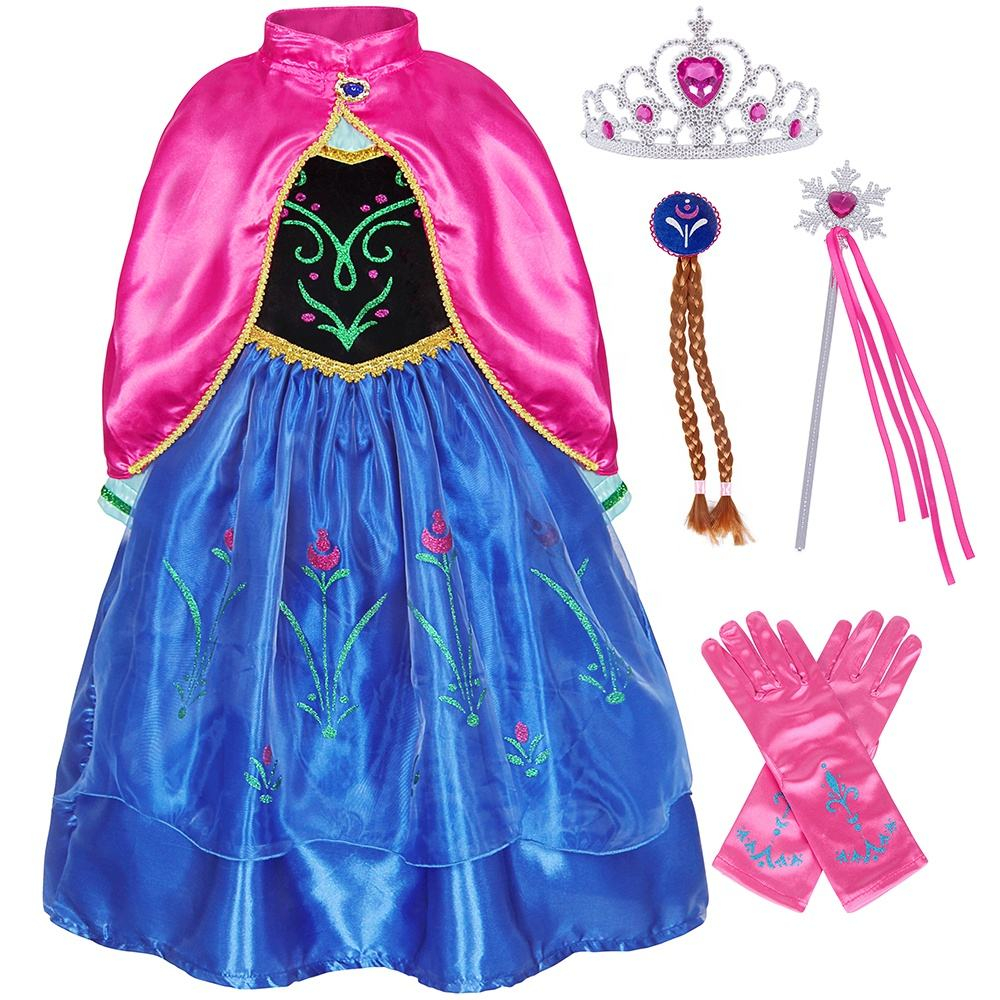 Anna Costume for Girls Snow Queen 2 Anna Dress with Cloak Princess Dress up Role Play Cosplay Birthday Fancy Party Dress