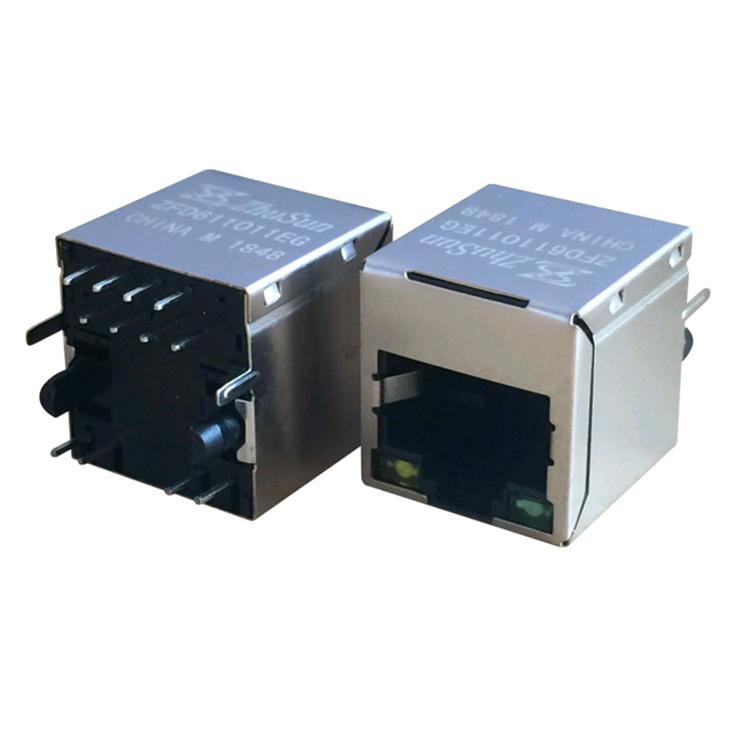 無料サンプル SI-46002-F/SI-46004-F シングルポート 10/100 ベース-T 8 ピン垂直 RJ45 コネクタ