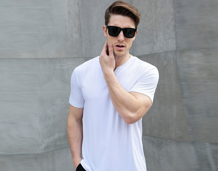 2019 summer new button V-neck solid color cotton bamboo fiber men's white T-shirt,Customizable your logo
