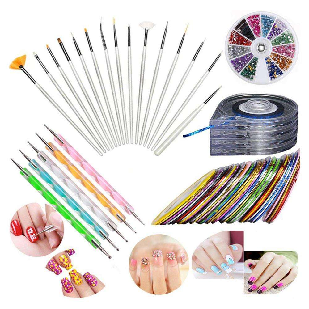 Nail Art Kit includes 30 Striping tape 4Pcs Striping Roller Box & 12 Colors Rhinestones 5pcs Dotting Pen 15pcs Brush Set