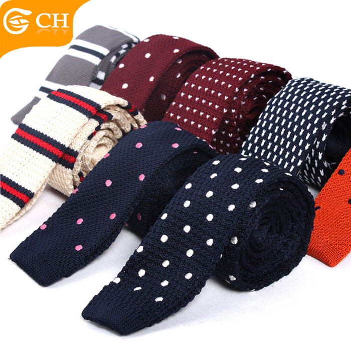 Wholesale Various Designs Causal Polyester Skinny Knitted Neck Ties For Men